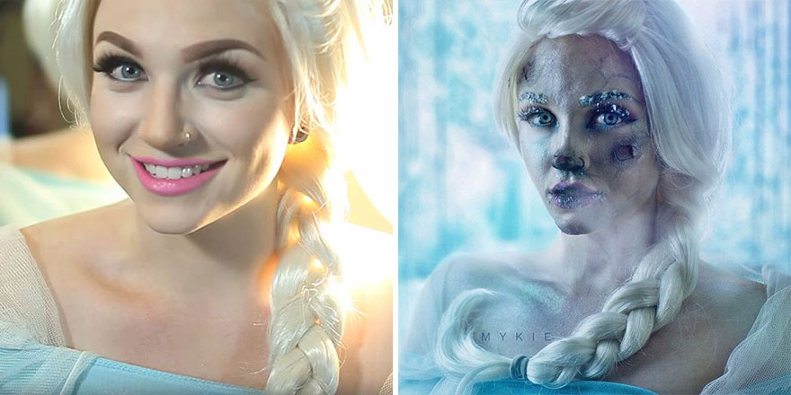 Elsa Before And After Getting Frozen
