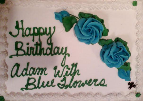 Happy Birthday Adam With Blue Flowers
