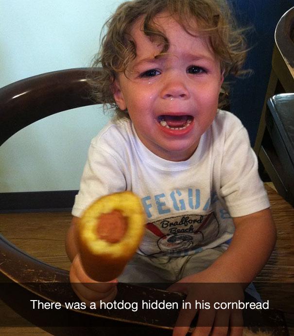 There was a hotdog hidden in his cornbread