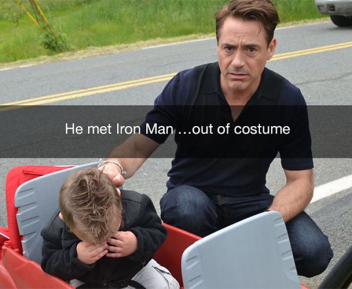 He met Iron Man... out of costume