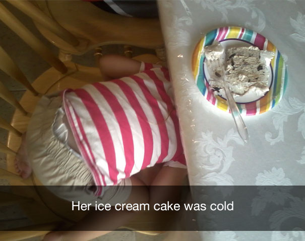 Her ice cream cake was cold