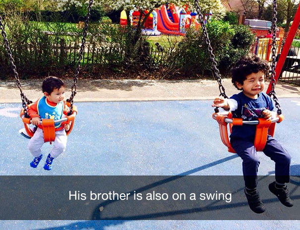 His brother is also on a swing
