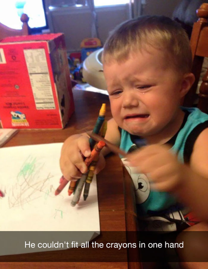 He couldn't fit all the crayons in one hand