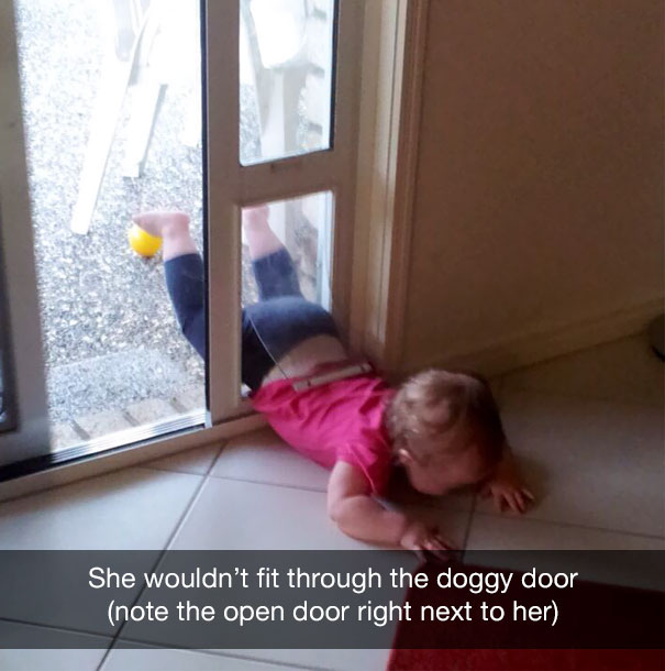 She wouldn't fit through the doggy door (note the open door right next to her)
