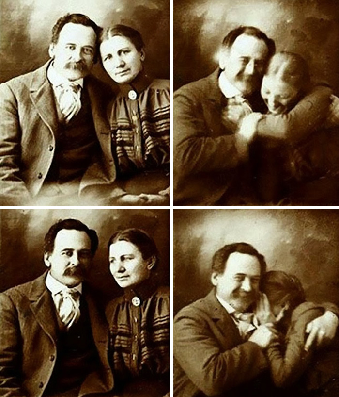 A Victorian Couple Trying Not To Laugh While Getting Their Portraits Done, 1890s