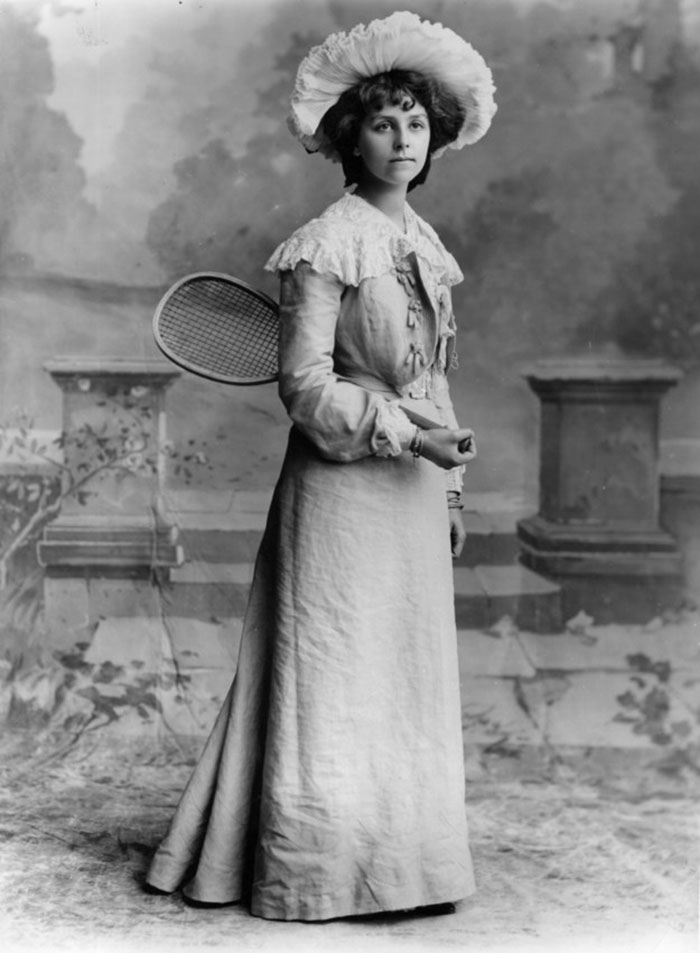 Miss Barton Dressed In A Late Victorian Tennis Outfit