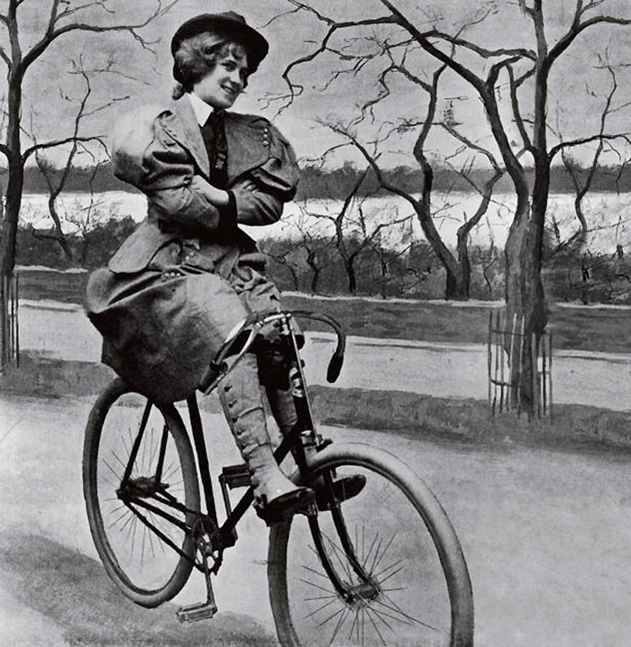 A Woman Riding A 'scorcher', A Victorian Bicycle, In St James' Park, London