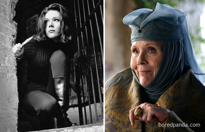 Diana Rigg As Emma Peel (In 1961's The Avengers) And As Olenna Tyrrel (In GoT)