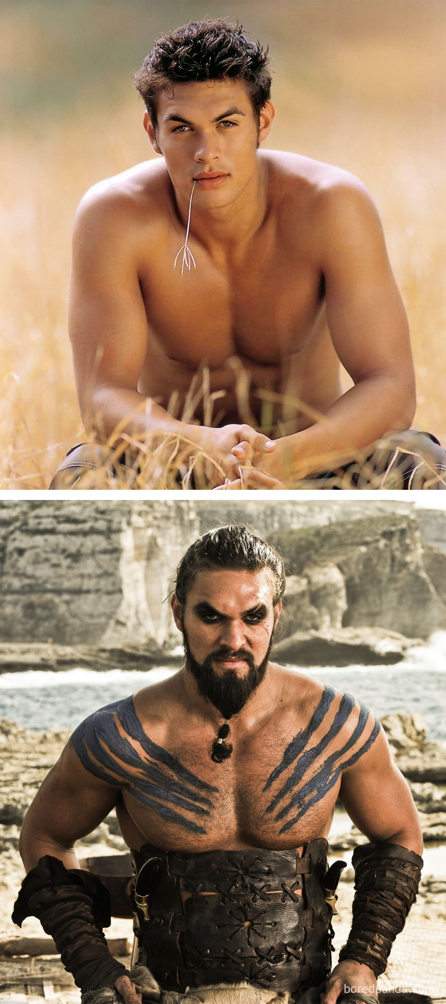 Jason Momoa As Jason (In 2003's Baywatch) And As Khal Drogo (In GoT)