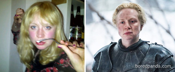 Young Gwendoline Christie And As Brienne Of Tarth (In GoT)