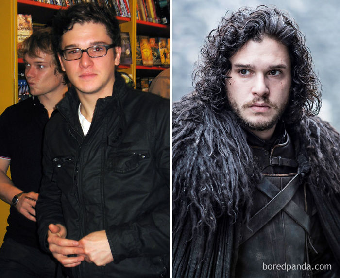 Young Kit Harington And As Jon Snow (In GoT)