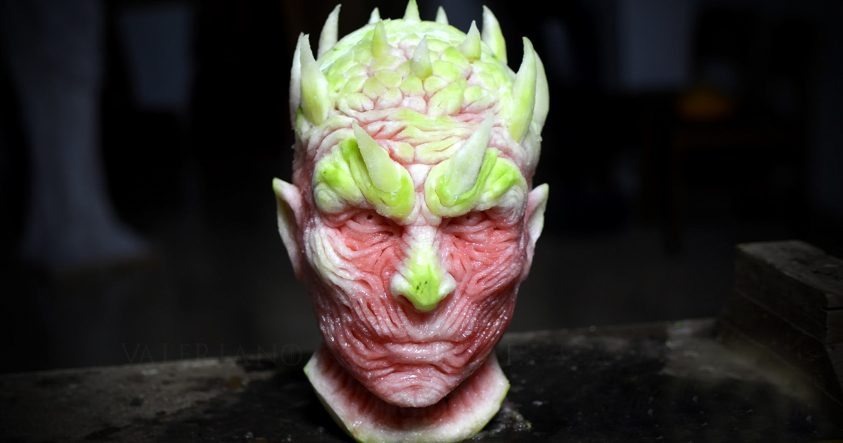 game of thrones night king being carved out of a watermelon bored