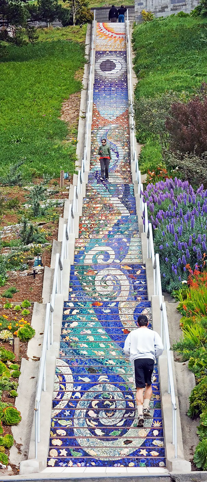 During The Day, The Tile Steps Look Incredibly Beautiful