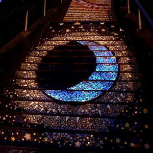 These Tiled Steps In San Francisco Glow At Night From The Moonlight