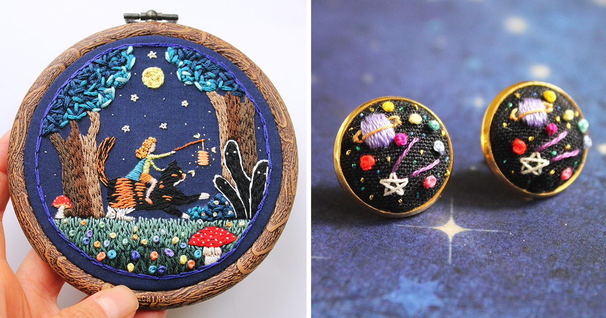 I stitch my illustrations into quirky hoop art and