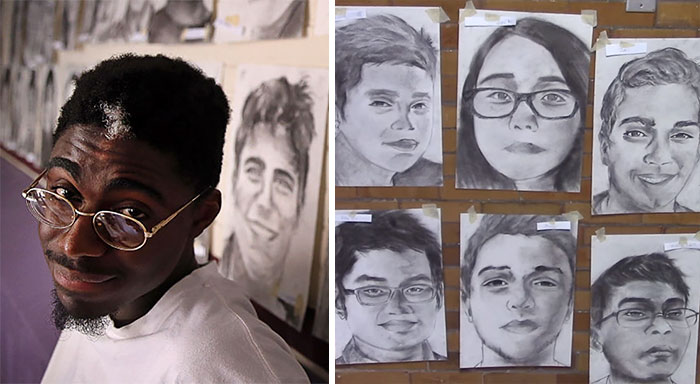 High School Student Secretly Draws All 411 Of His Graduating Classmates