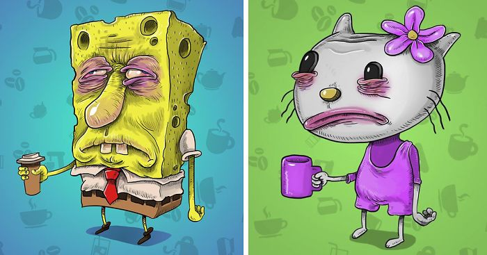 2 Famous Cartoon Characters : I painted famous cartoon characters before their morning