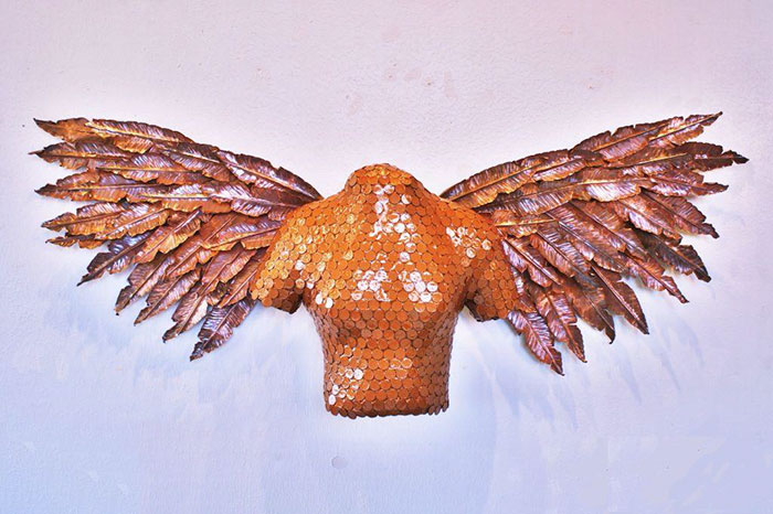 I Spent A Month Creating This Copper And Coin Angel Sculpture