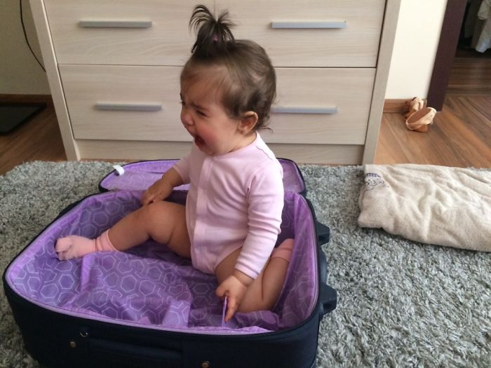 She Wanted To Travel Inside The Suitcase