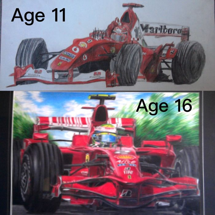 5 Years Between Ferrari F1 Car Drawings