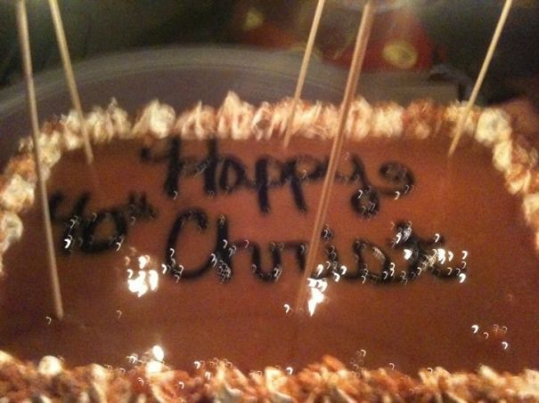 Husband's 40th Birthday Cake. It Was Around Christmas And My Hubby's Name Is Chris!!!