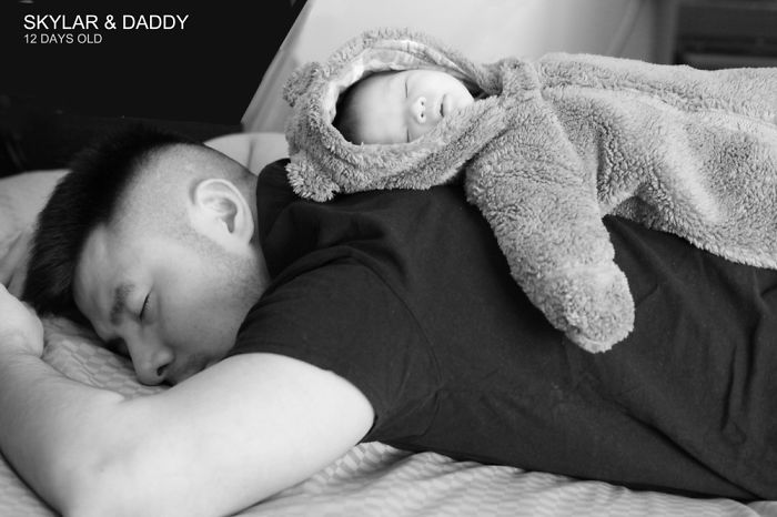 Baby And Daddy Both Sleeping.. So I Put Baby On Daddy's Back And Took This Shot:)