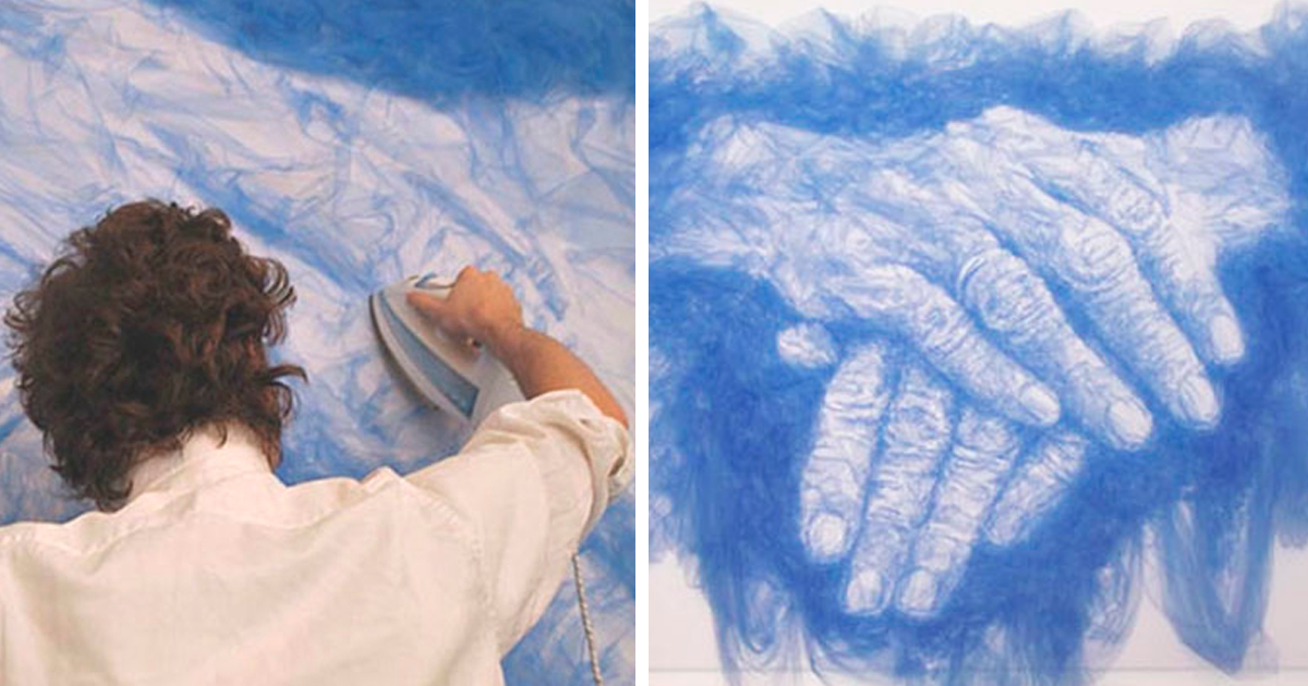 Artist Irons Fabric To Create Stunning Paintings Video Bored Panda