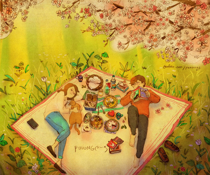 Having A Picnic To Celebrate Spring