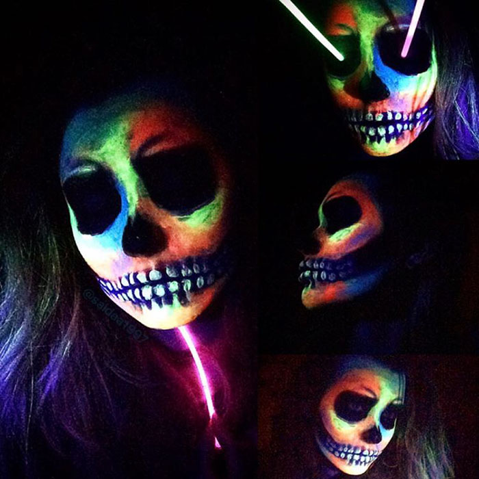 Neon Rainbow Skull
