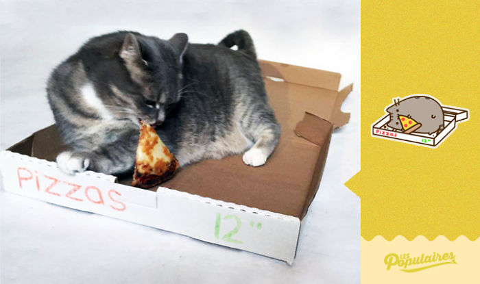 Pusheen eats pizza in the cutest manner possible.