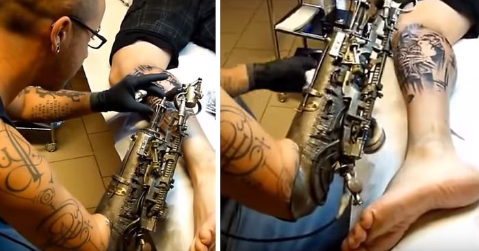 Tattoo Machien Etch Drawing: Tattoo Artist Who Lost His Arm Gets World's First Tattoo
