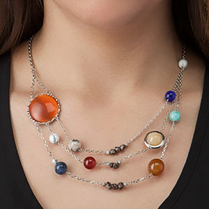 Solar System Necklace With Semi Precious Planets Moving Around Jade Sun