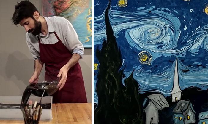 Van Gogh's Starry Night Painted On Dark Water By Garip Ay