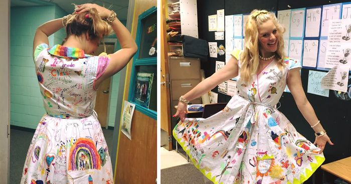 a29876d917 First-Grade Teacher Lets Students Draw On Her Dress For Last Day Of School