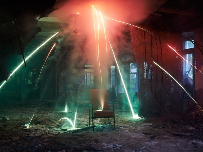 Photographer Makes Abandoned Places Come To Life With Showers Of Sparks And Colorful Smoke