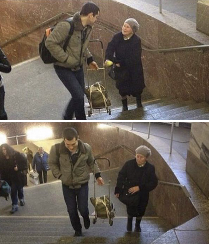 A Guy Casually Helping A Woman With Her Luggage