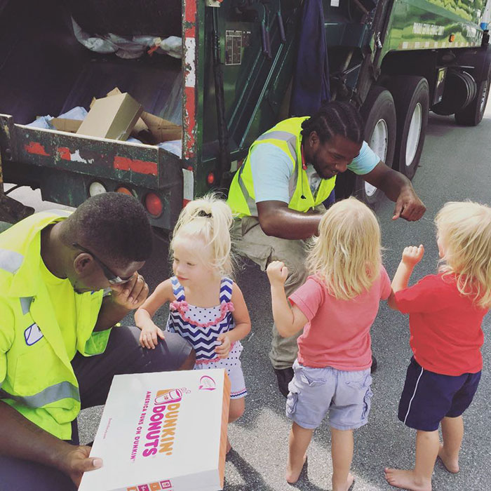 These Triplets Give Food And Drinks To Their BFF Garbage Men