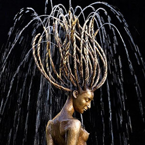 Polish Sculptor Makes Water Complete Her Bronze Fountain Sculptures