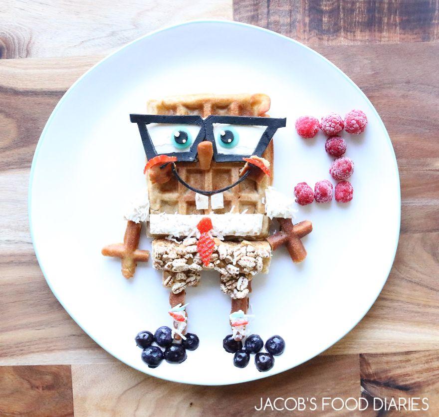 Spongebob Squarepants. Spelt Waffles With Spelt Puffs, Coconut, Raspberries And Blueberries