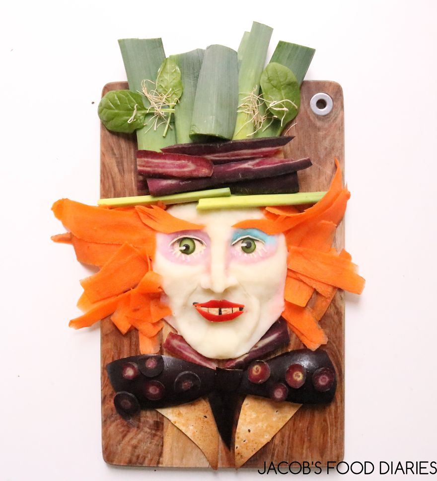The Mad Hatter From Alice Through The Looking Glass. Potato With Carrots, Leek, Wholemeal Wrap And Eggplant