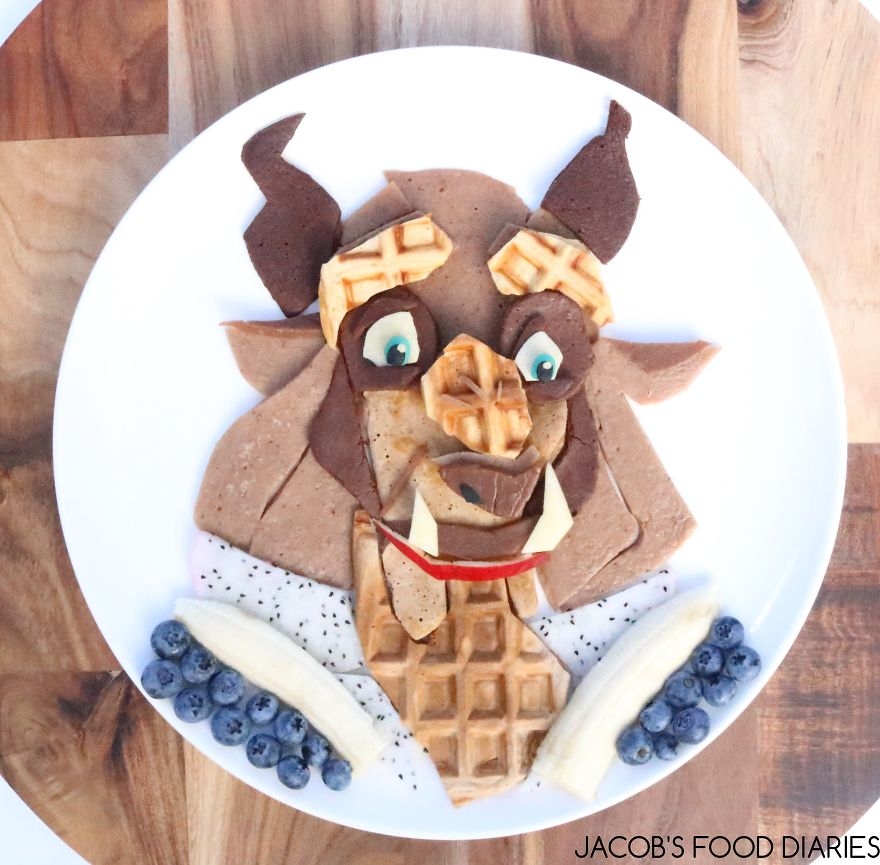 Beast From Beauty & The Beast. Waffles With Spelt Chocolate Pancakes, Dragon Fruit, Blueberres And Banana