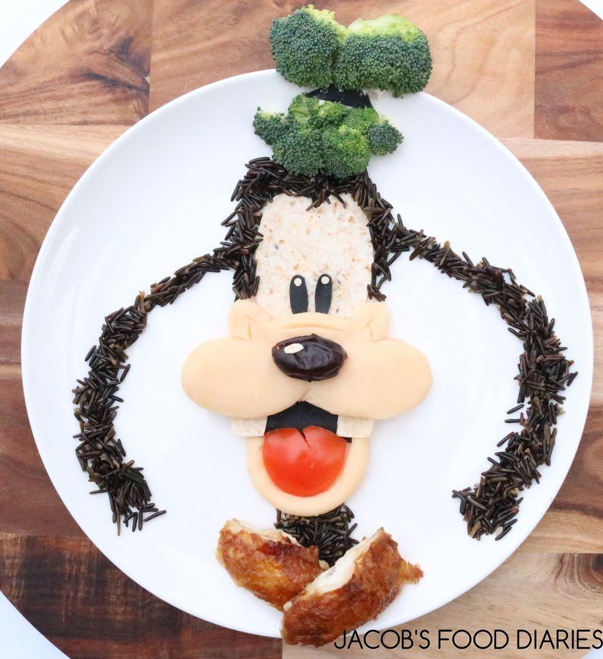 Goofy. Roast Chicken With Wild Rice, Mash Potatoes, Broccoli And Tomato