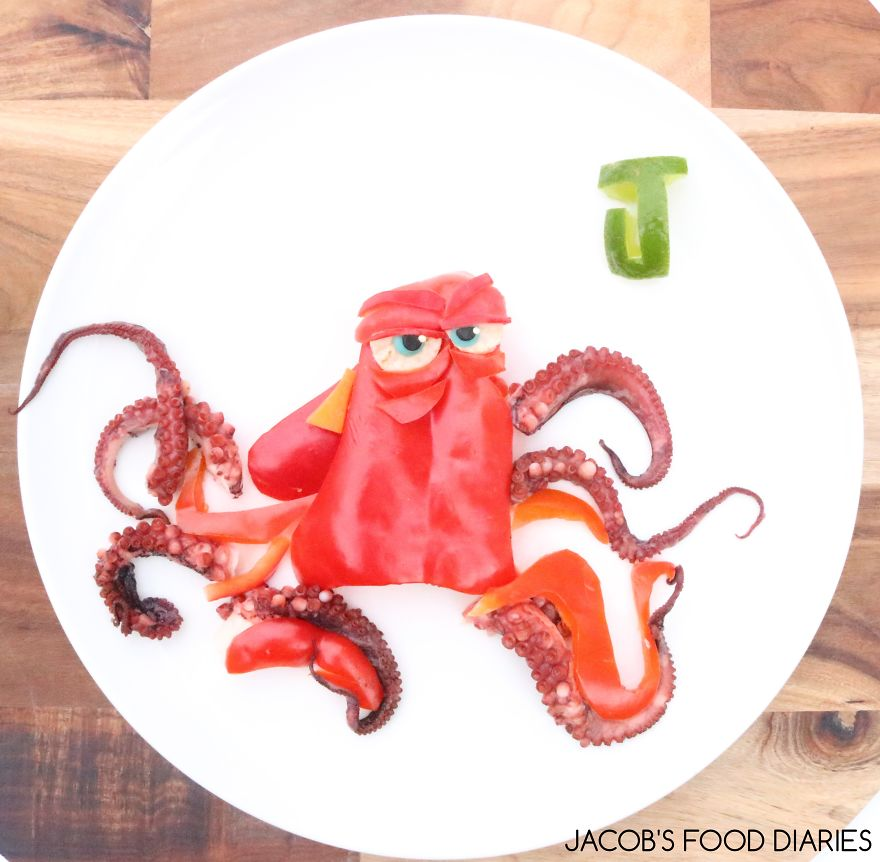 Hank From Finding Dory. Marinated Octopus With Red Capsicum And Lime