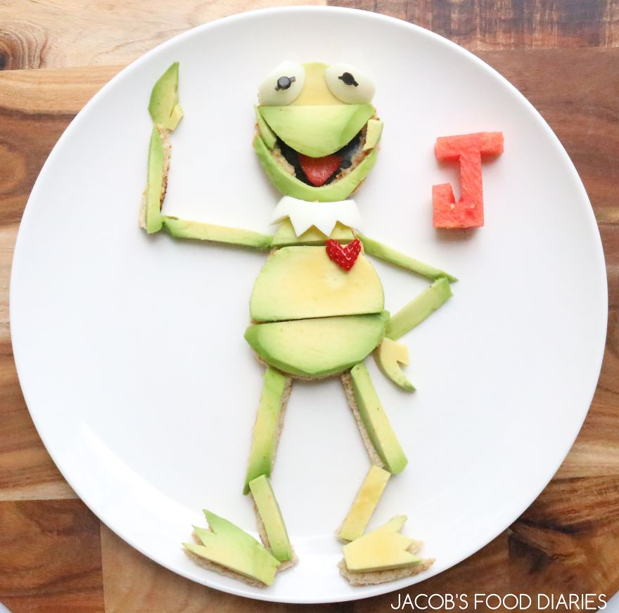 Kermit The Frog. Avocado And Eggs On Toast