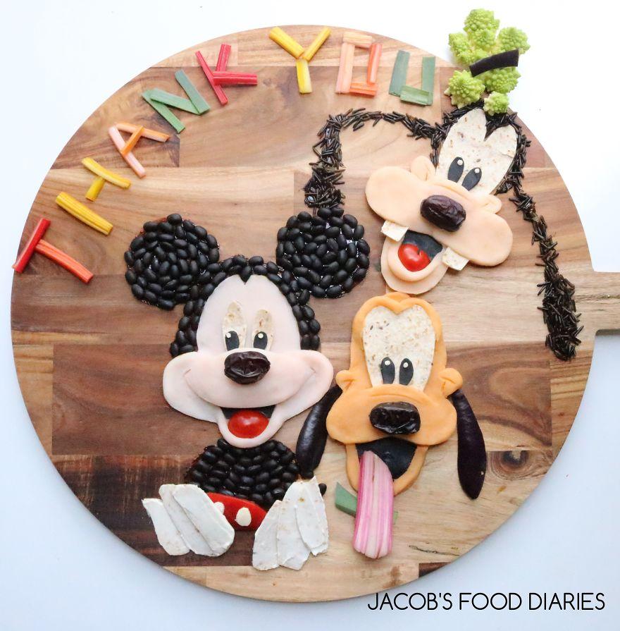 Mickey, Goofy & Pluto. Mash Potato, Sweet Potato, Rainbow Chard, Wholemeal Wrap, Romanesco Broccoli, Wild Rice And Black Beans
