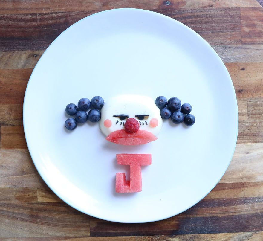 Chuckles The Clown From Toy Story 3. Panna Cotta (made With Coconut Sugar) And Fruit