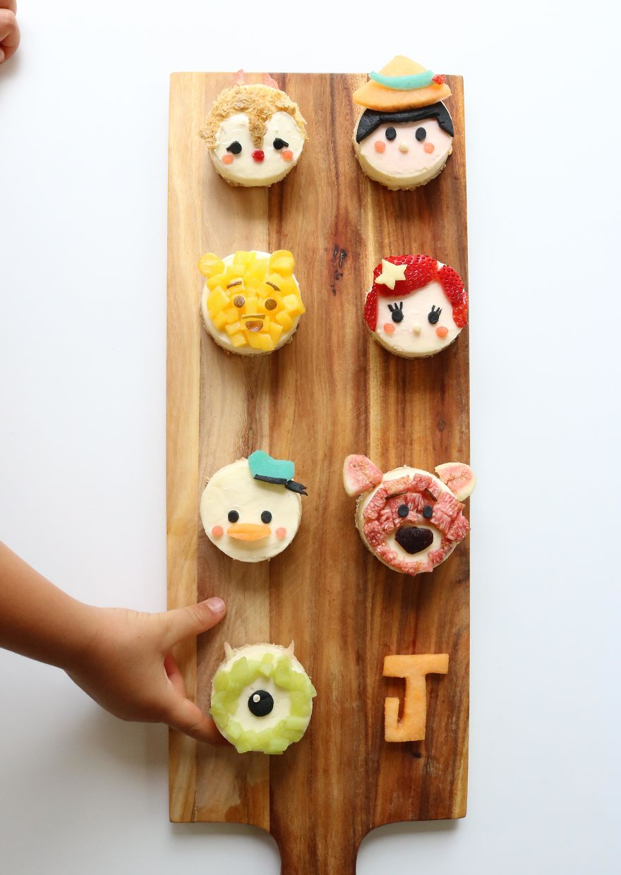 Tsum Tsum Disney Characters. Mini Cheesecake Tarts - Oat, Spelt And Coconut Oil Base With Fruit