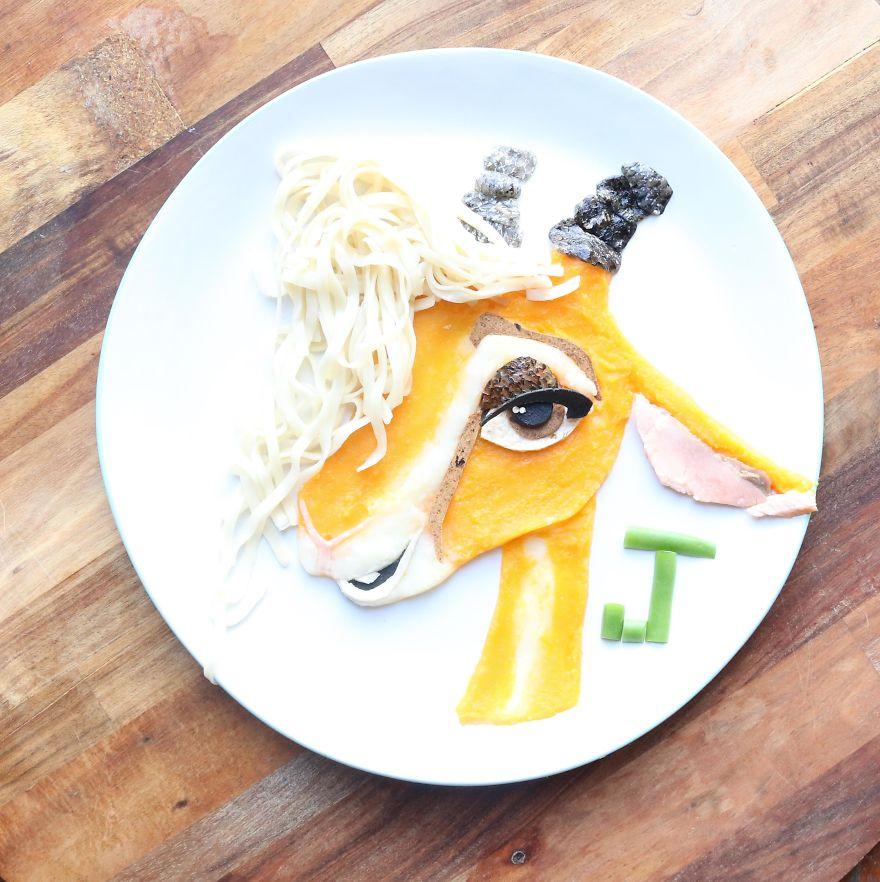 Gazelle From Zootopia. Wild Australian Salmon With Noodles, Pumpkin And Parsnip Mash