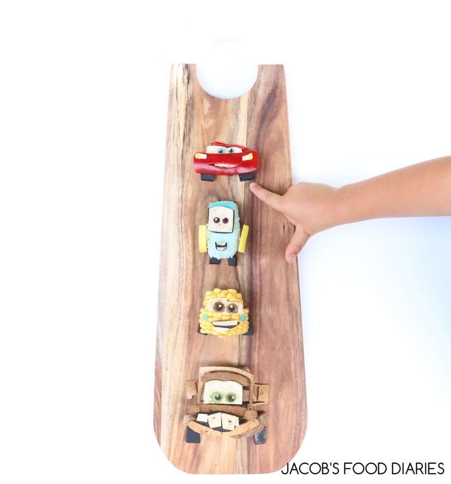 Lightening Mcqueen, Guido, Luigi And Mater From Cars. Grass Fed Beef With Rice And Veggies