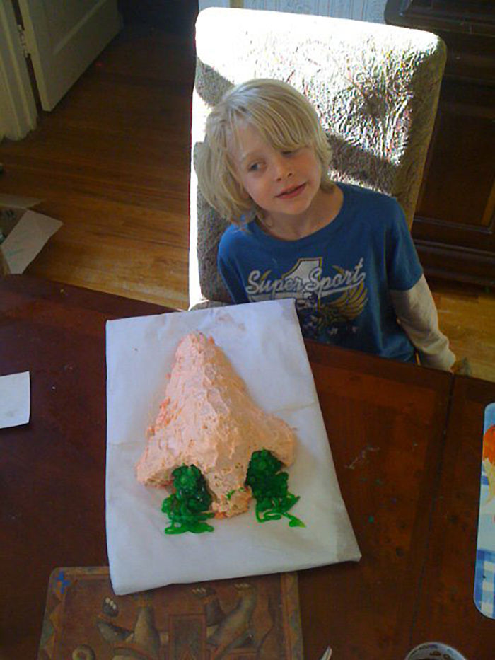 Mom Asked Dad To Help Son Make A Cake For Big Cub Scout Cake Walk…and Left Them Unsupervised.